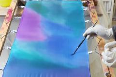 patchwork türkiz, ibolya, királykék