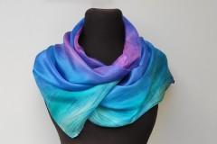 Kék magenta shibori selyemsál